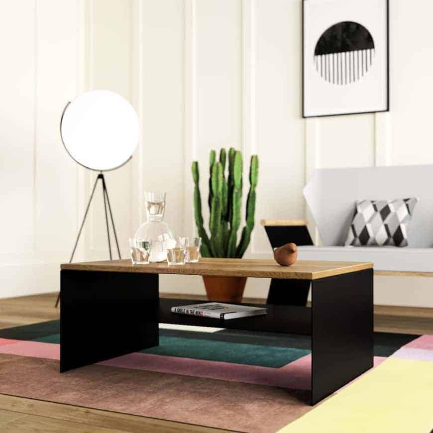 Couchtisch Linea 1 (schwarz, Eiche, Metall) • Stahlzart Design Möbel Online  Shop