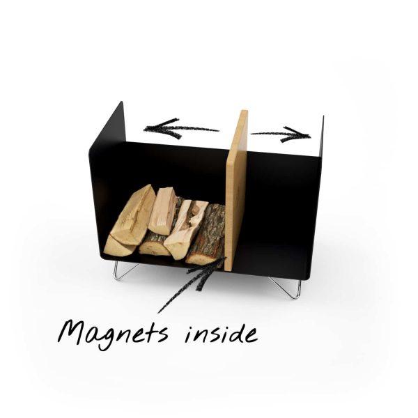 kaminholzregal-innen-brennholzregal-holzaufbewahrung-metall-design-modern-holz-aufbewahrung-kaminholz-brennholz-stahl-schwarz-edelstahl-eiche-magnets-inside-magic-2-new