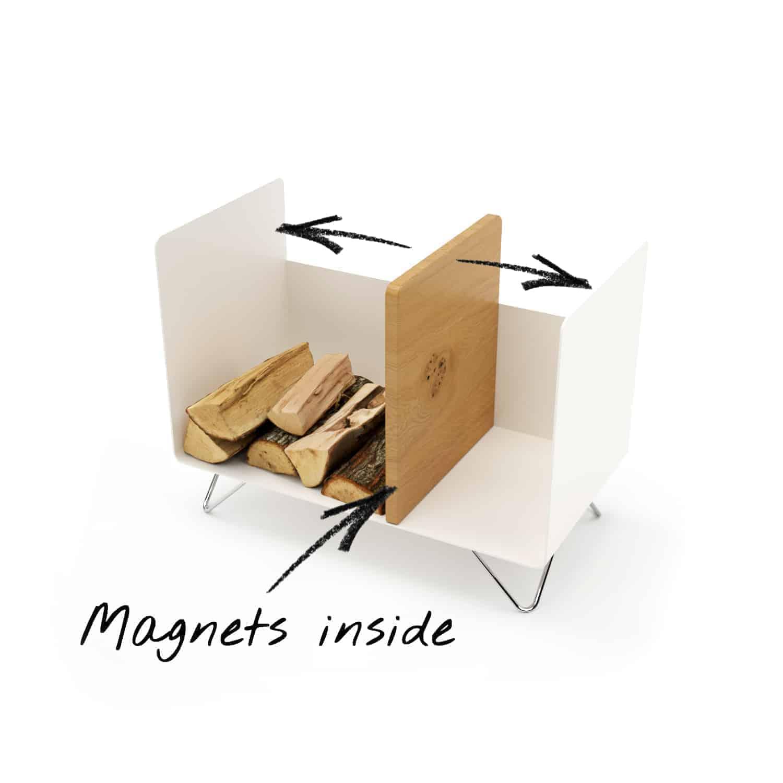 Kaminholzregal Magic 2 (innen, Metall, weiß, Eiche, Stahl ...