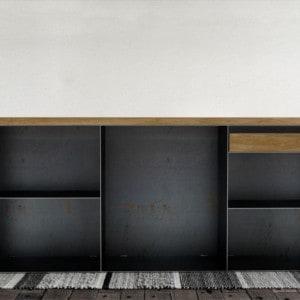 kommode-sideboard-schwarz-grau-eiche-mit-schublade-holz-massivholz-metall-modern-design-stahl-classic-001