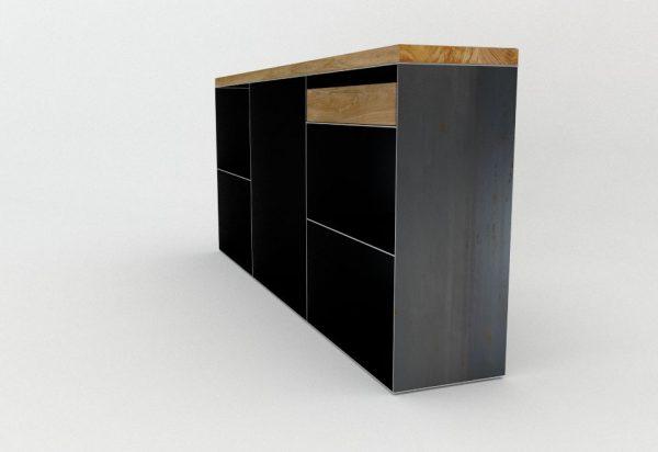 kommode-sideboard-schwarz-grau-eiche-mit-schublade-holz-massivholz-metall-modern-design-stahl-rohstahl-classic-001