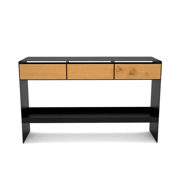 konsolentisch-ablagetisch-flurtisch-schwarz-schmal-holz-konsole-modern-metall-mit-schublade-flur-diele-design-eiche-stahl-mystery-neu