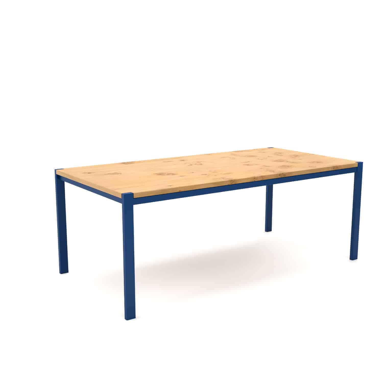 Tisch Ferrum 002 Holz Metall Eiche Blau Esstisch Gartentisch