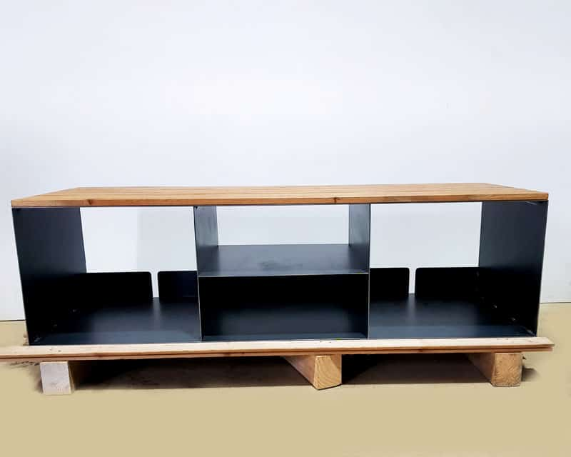 Tv Sideboard Lowboard P4 Schwarz Grau Eiche Metall