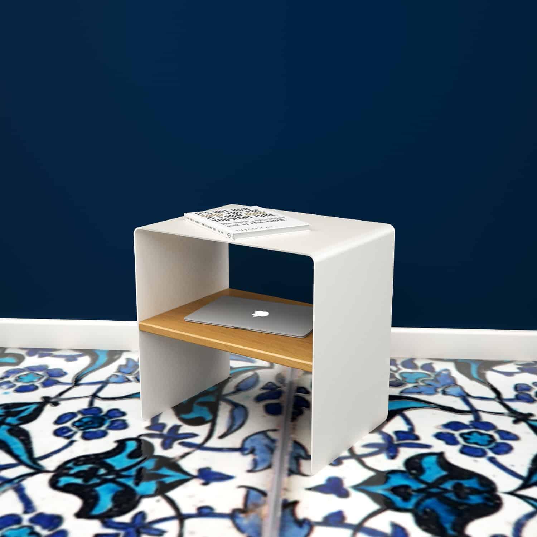 Beistelltisch mnmlsm classic (Holz, Metall, Eiche astfrei, weiß) •  Stahlzart Möbel