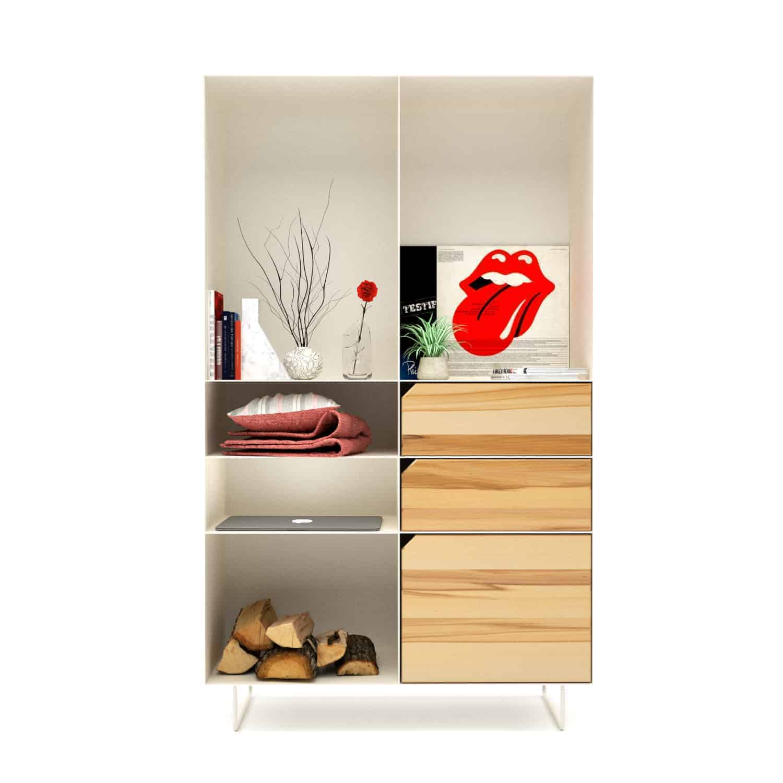Highboard Classic (Holz, Buche, Metall, weiss) • Stahlzart Möbel & Interior
