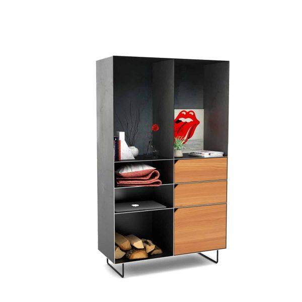 highboard-kommode-schlafzimmer-laerche-holz-mit-tuere-massivholz-modern-design-metall-schwarz-grau-stahl-mit-schubladen-mit-fuessen-classic