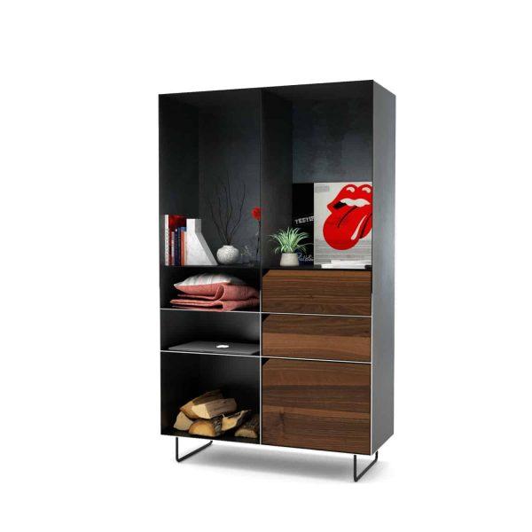 highboard-kommode-schlafzimmer-nussbaum-holz-mit-tuere-massivholz-modern-design-metall-walnuss-schwarz-grau-stahl-mit-schubladen-mit-fuessen-classic
