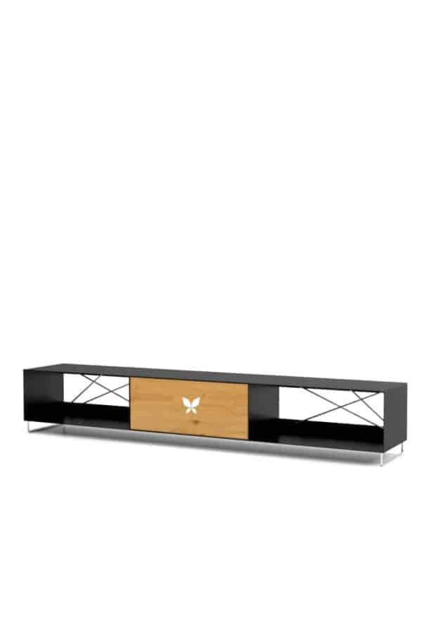 lowboard-schwarz-tv-board-moebel-fernsehtisch-bank-tisch-holz-eiche-metall-design-modern-massivholz-wildeiche-stahl-edelstahl-pure-mnmlsm-m