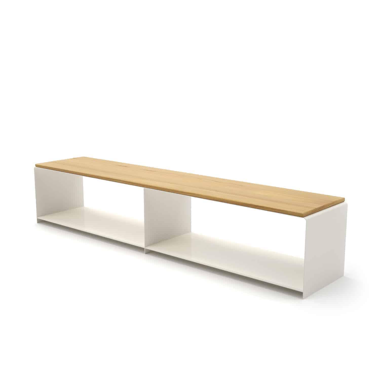 Lowboard Merapi 2 Weiß Holz Eiche Astfrei Metall Stahlzart Design Möbel Online Shop