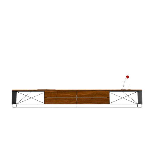 lowboard-tv-board-moebel-fernsehtisch-bank-tisch-holz-metall-nussbaum-design-modern-stahl-massivholz-schwarz-frontansicht-pure-mnmlsm-l-neu