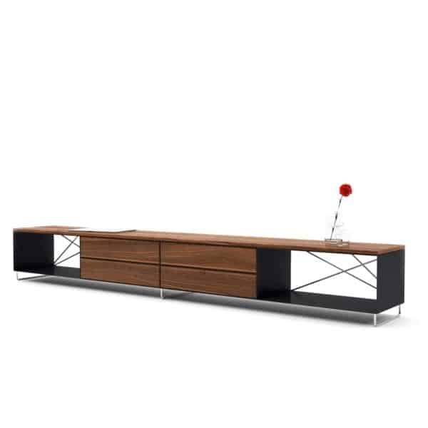 lowboard-tv-board-moebel-fernsehtisch-bank-tisch-holz-metall-nussbaum-design-modern-stahl-massivholz-schwarz-mit-fuessen-pure-mnmlsm-l-neu