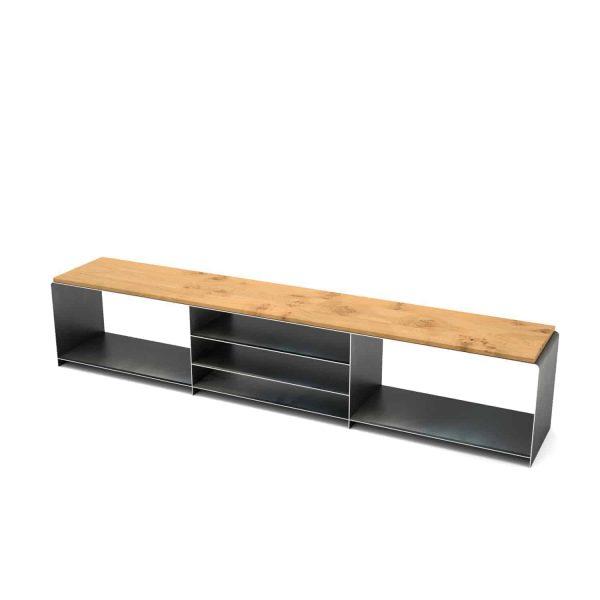 lowboard-tv-board-moebel-fernsehtisch-bank-tisch-schwarz-grau-holz-eiche-metall-design-modern-massivholz-wildeiche-stahl-merapi-1