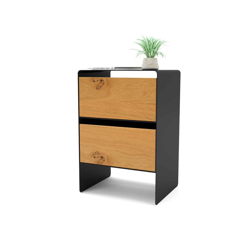Nachttisch für Boxspringbett mnmlsm mystery (Holz, Eiche, Metall, schwarz)  • Stahlzart