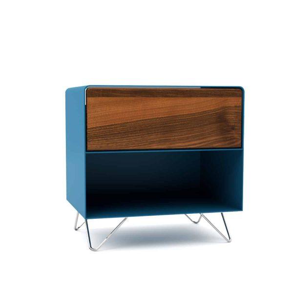 nachttisch-nachtkonsole-nachtschrank-nachtkaestchen-nachtkommode-holz-metall-modern-design-nussbaum-blau-fly-high-3-neu