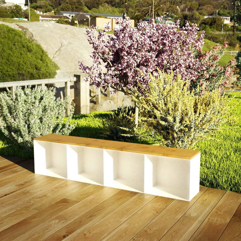 Gartenbank Sitzbank Classic XL Holz Metall mit Stauraum Eiche weiß • Stahlzart