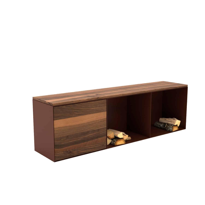 Sitzbank Classic L indoor (Holz, Metall, mit Stauraum, Nussbaum, braun) •  Stahlzart