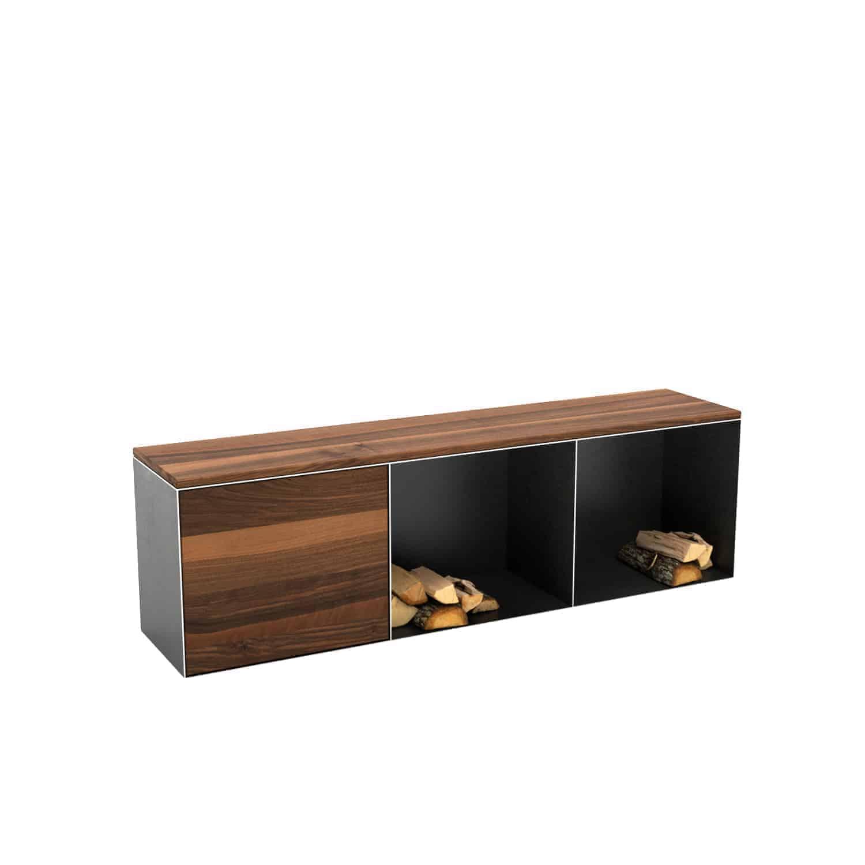 Sitzbank Classic L indoor (Holz, Metall, mit Stauraum, Nussbaum, schwarz,  grau) • Design Möbel Online Shop