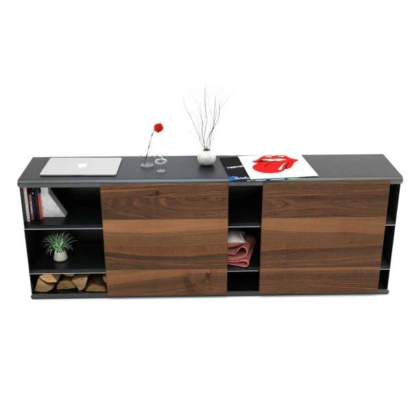 kommode-sideboard-holz-schwarz-grau-massivholz-nussbaum-design-metall-modern-mit-schiebetueren-stahl-walnuss-rohstahl-the-flowboard