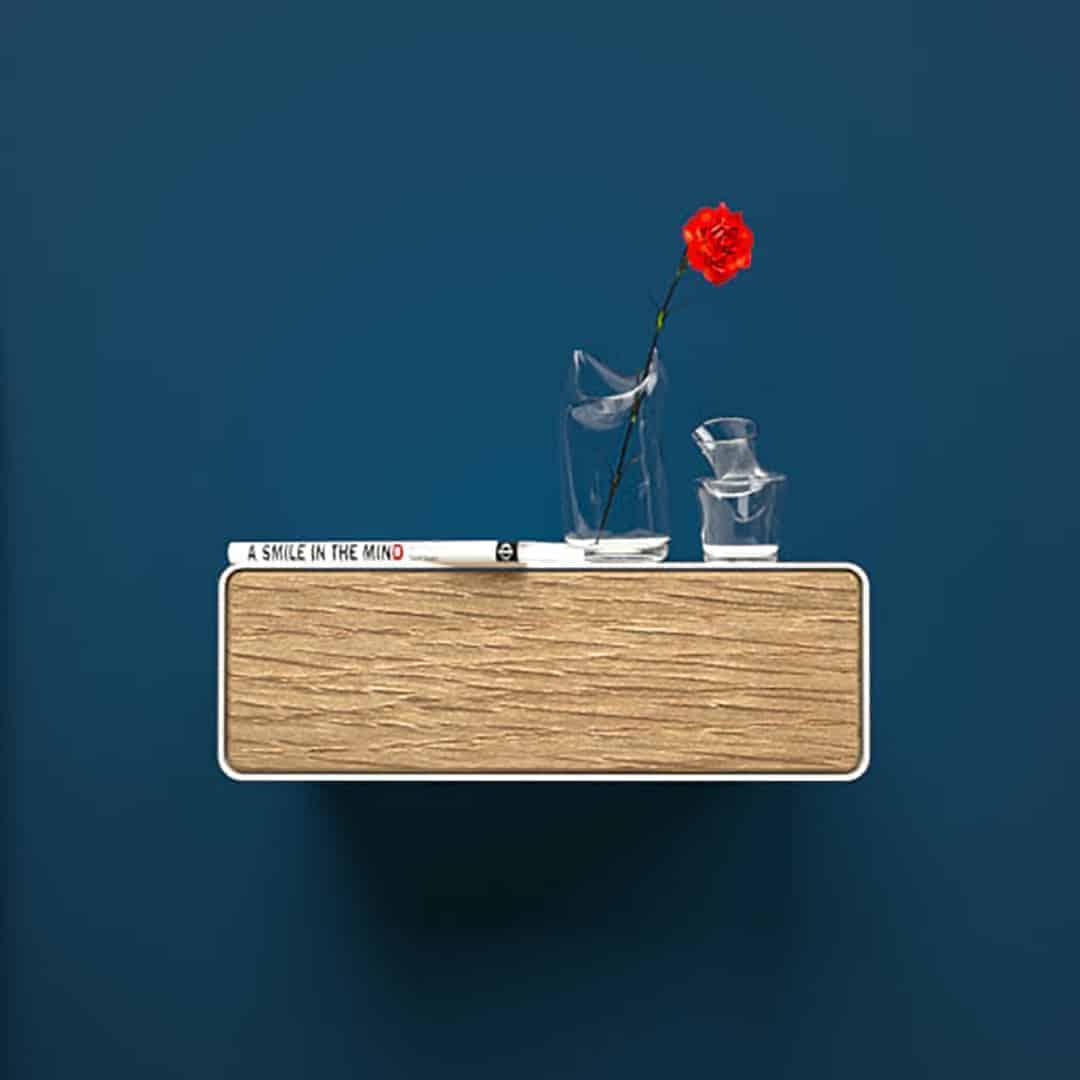 Nachttisch Dreamy 1 Weiß Hängend Holz Eiche Metall Modern Design Möbel Online Shop