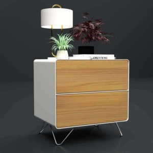 designer-nachttisch-weiss-holz-eiche-metall-modern-design-industrial-massivholz-eiche-astfrei-mit-schubladen-mit-hairpin-fuessen-edelstahl-stahlzart