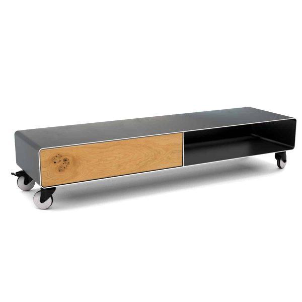 tv-lowboard-holz-schwarz-eiche-grau-massivholz-design-metall-modern-industriedesign-wildeiche-designer-moebel-stahlzart-mit-rollen-stahl-aluminium