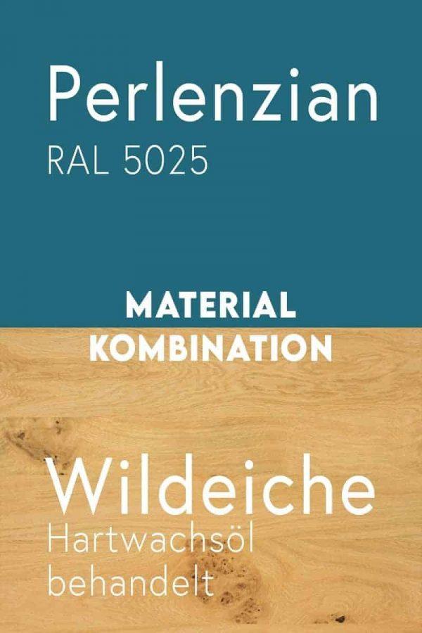 material-kombination-holz-eiche-massivholz-wildeiche-mit-aesten-metall-stahl-mit-pulverbeschichtung-perlenzian-ral-5025