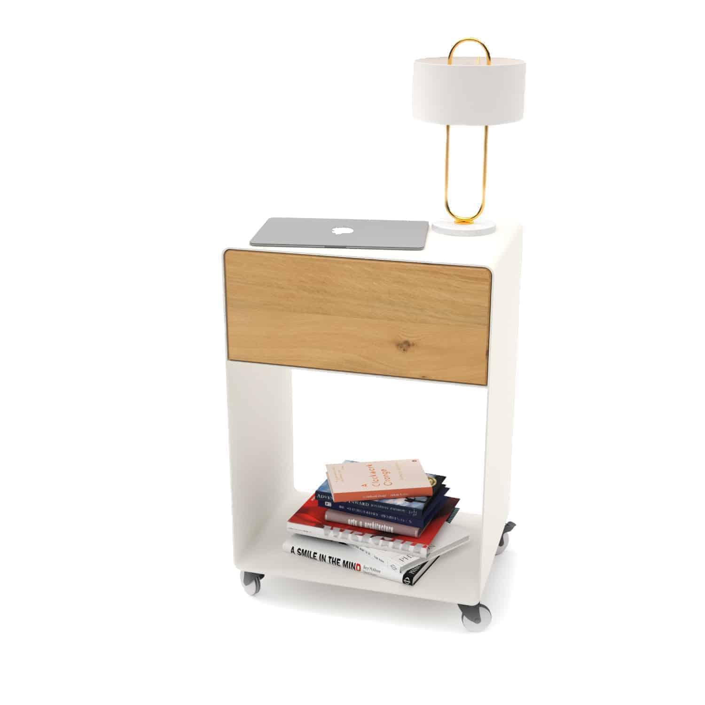 Nachttisch M A M 3 Weiss Holz Eiche Metall Mit Schublade Mit Rollen Stahlzart