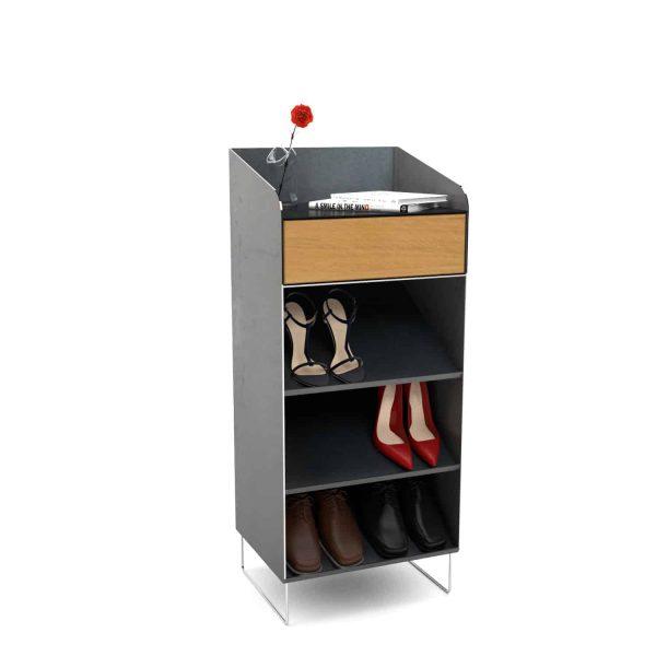 schuhschrank-flurmoebel-schmal-schuhkommode-holz-metall-schwarz-grau-modern-eiche-design-massivholz-wildeiche-designer-stahl-edelstahl-fly-high-1
