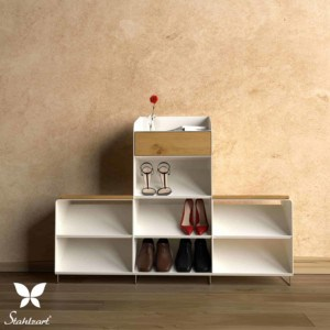 schuhschrank-weiss-flurmoebel-schmal-schuhkommode-holz-metall-modern-eiche-design-massivholz-wildeiche-stahl-interior-flur-fly-high-3