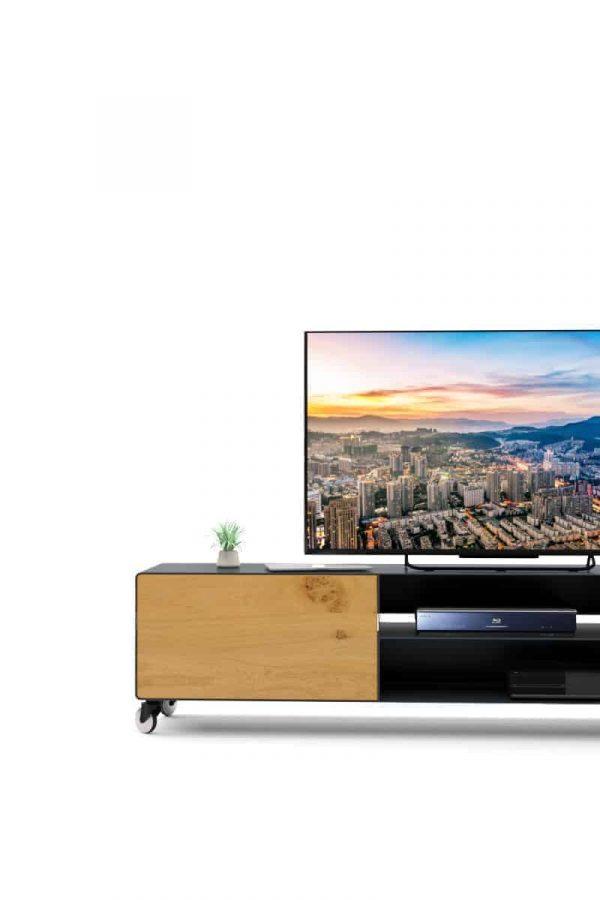 lowboard-tv-grau-anthrazit-holz-eiche-metall-modern-design-massivholz-wildeiche-schublade-aluminium-rollen-detail-designer-hollywood-7