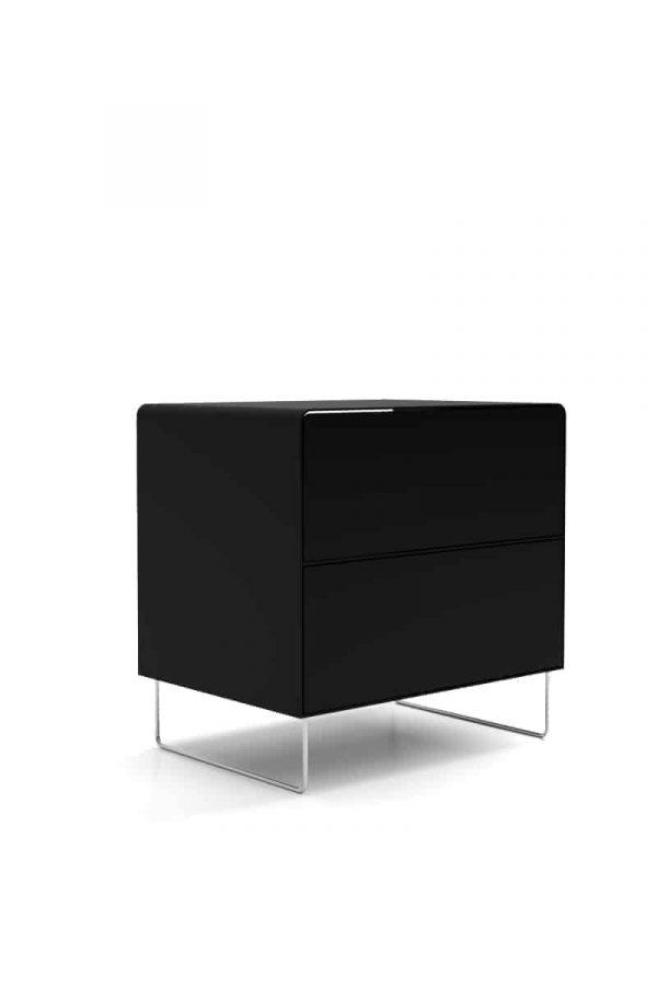 nachttisch-schwarz-metall-modern-design-designer-mit-schubladen-stahl-edelstahl-fuesse-fly-high-5s