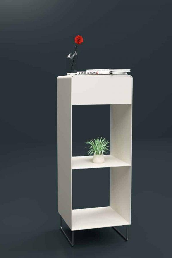 regal-weiss-metall-chrom-design-modern-designer-edelstahl-mit-schublade-fly-high-1s-snow-white