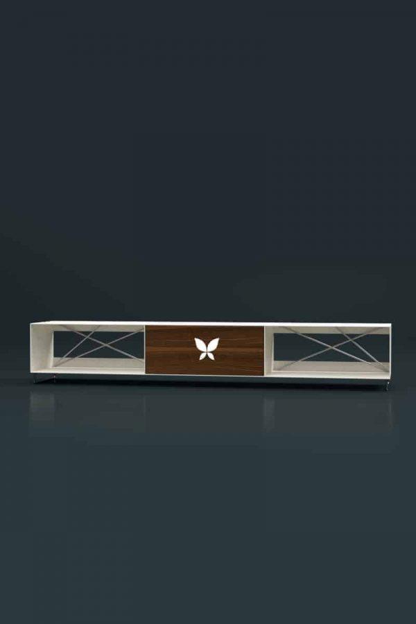 lowboard-weiss-holz-tv-board-moebel-fernsehtisch-bank-tisch-metall-design-modern-massivholz-nussbaum-mit-fuessen-edelstahl-pure-mnmlsm-m