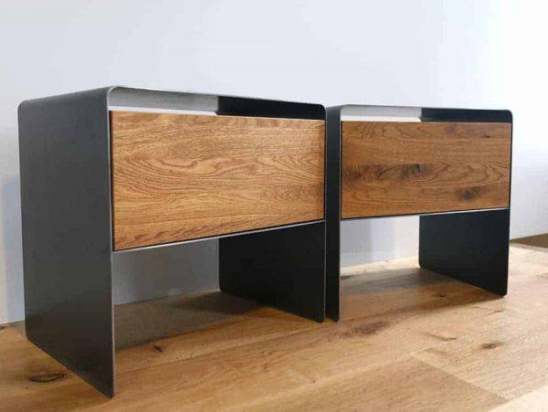 nachttisch-schwarz-grau-holz-eiche-metall-modern-design-industrial-style-massivholz-designer-wildeiche-mit-schublade-schlafzimmer-minimal-2er-set-stahlzart