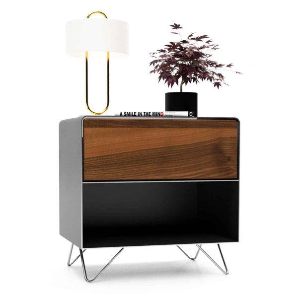 nachttisch-schwarz-grau-nachtkaestchen-holz-metall-modern-design-industrial-massivholz-nussbaum-mit-schublade-minimalistisch-fly-high-3-stahlzart