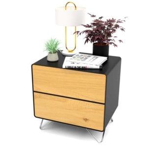 design-nachttisch-schwarz-holz-eiche-metall-modern-industrial-massivholz-wildeiche-mit-schubladen-mit-hairpin-fuessen-edelstahl-stahlzart
