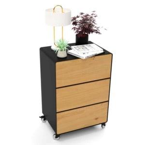 nachttisch-fuer-boxspringbett-schwarz-holz-eiche-metall-modern-design-mit-schubladen-mit-rollen-designer-schlafzimmer-stahlzart
