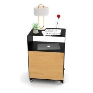 nachttisch-fuer-boxspringbett-schwarz-holz-eiche-metall-modern-design-mit-tuer-mit-rollen-designer-stahl-interior-schlafzimmer-stahlzart