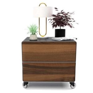 nachttisch-schwarz-grau-holz-metall-modern-industrial-design-massivholz-nussbaum-mit-schublade-mit-rollen-schlafzimmer-minimalistisch-m.a.m.-2