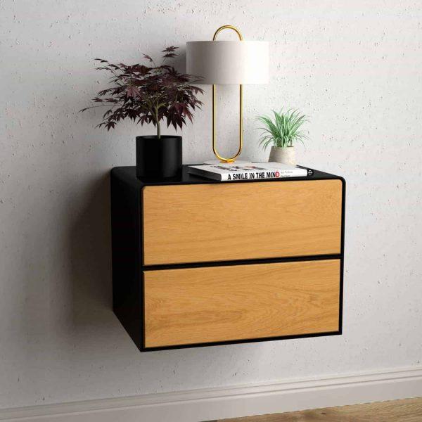 nachttisch-schwarz-haengend-holz-eiche-metall-modern-industrial-design-massivholz-wildeiche-mit-schubladen-schlafzimmer-minimalistisch-stahlzart