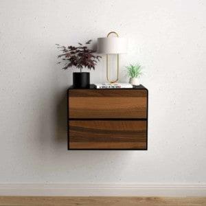 nachttisch-schwarz-haengend-metall-modern-industrial-design-massivholz-nussbaum-mit-schubladen-schlafzimmer-minimalistisch-stahlzart