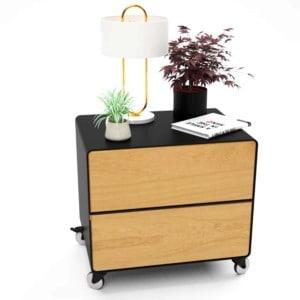 nachttisch-schwarz-holz-eiche-metall-modern-industrial-design-massivholz-wildeiche-mit-schublade-mit-rollen-minimalistisch-m.a.m.-2-stahlzart