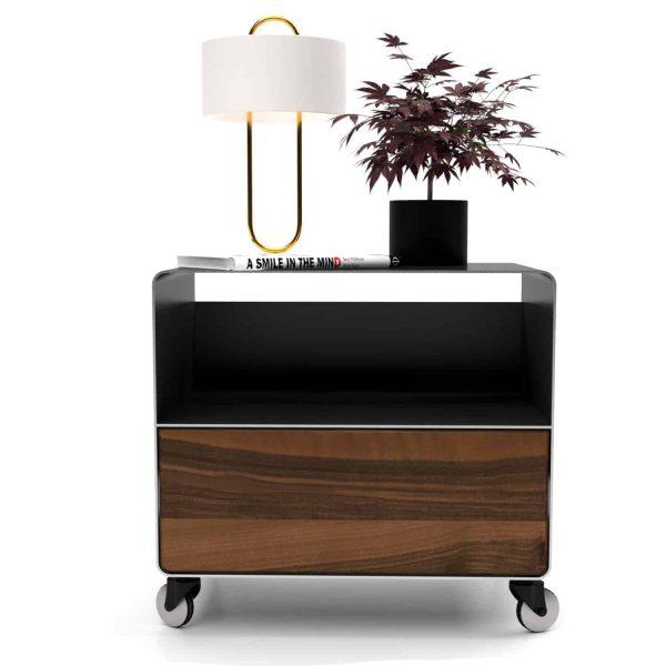 nachttisch-schwarz-holz-grau-metall-modern-design-industrial-massivholz-nussbaum-mit-schublade-mit-rollen-designer-stahl-stahlzart-m.a.m.-1