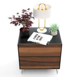 nachttisch-schwarz-holz-grau-metall-modern-design-industrial-massivholz-nussbaum-mit-schublade-schlafzimmer-fly-high-5s