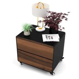 nachttisch-schwarz-holz-metall-modern-industrial-design-massivholz-nussbaum-mit-schublade-auf-rollen-stahlzart