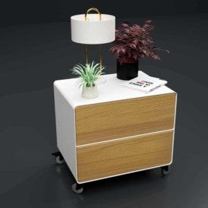 nachttisch-weiss-holz-eiche-metall-modern-industrial-design-massivholz-astfrei-mit-schublade-mit-rollen-stahlzart
