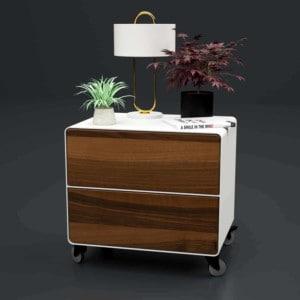 nachttisch-weiss-holz-metall-modern-industrial-design-massivholz-nussbaum-mit-schublade-mit-rollen-stahlzart