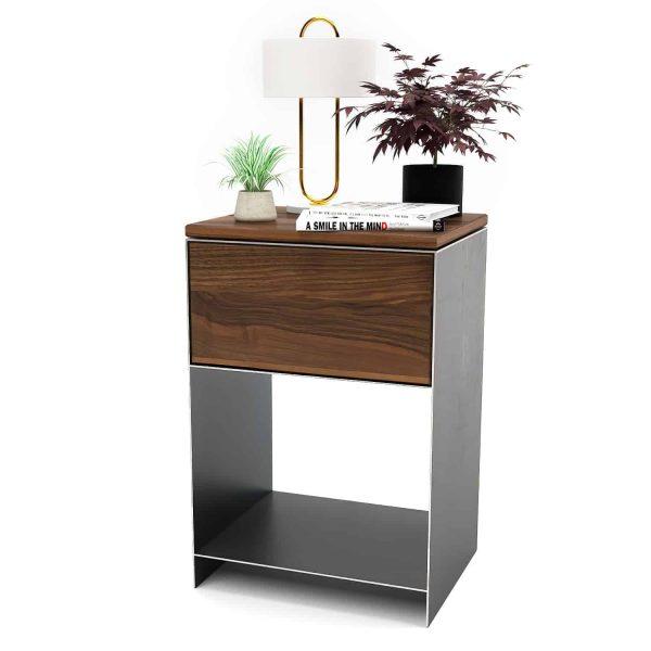 nachttisch-schwarz-grau-holz-metall-modern-design-massivholz-nussbaum-mit-schublade-fuer-boxspringbett-minimal-classic-1