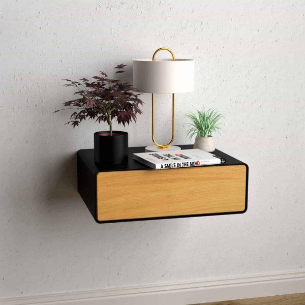 nachttisch-schwarz-haengend-holz-eiche-metall-modern-design-massivholz-wildeiche-mit-schublade-minimalistisch-schlafzimmer-dreams-1
